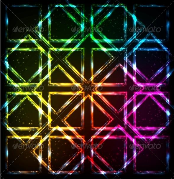 Shining Neon Lights Rainbow Squares Background - Backgrounds Decorative