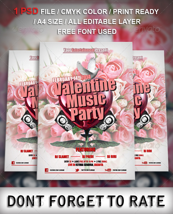 Valentine Music Party Flyer Template - Clubs & Parties Events