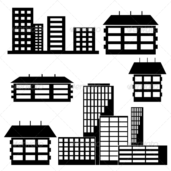 Houses and Buildings - Web Elements Vectors