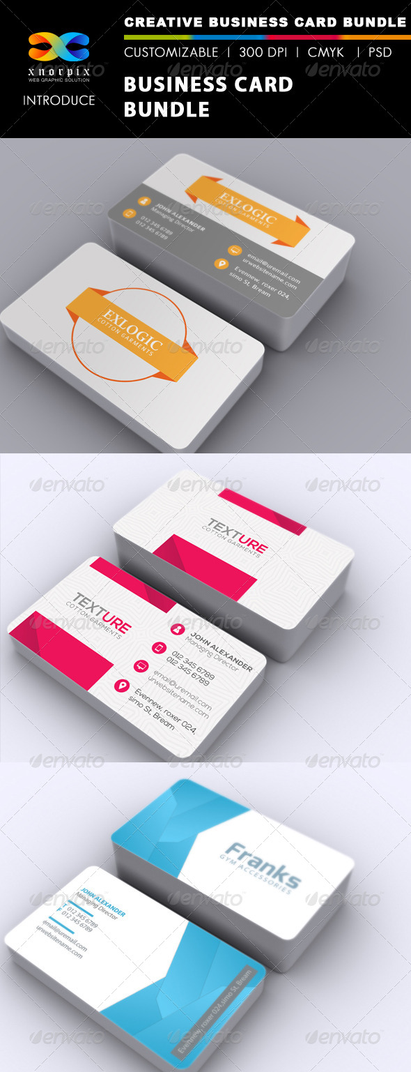 Business Card Bundle 3 in 1-Vol 33 - Corporate Business Cards