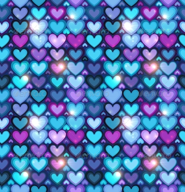 Dark Blue Hearts Seamless Pattern - Valentines Seasons/Holidays