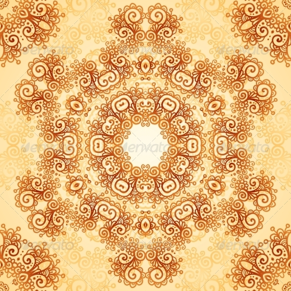 Ornate Vintage Seamless Pattern in Mehndi Style - Patterns Decorative