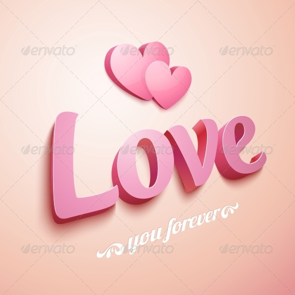 Pink Love Sign with Hearts - Valentines Seasons/Holidays