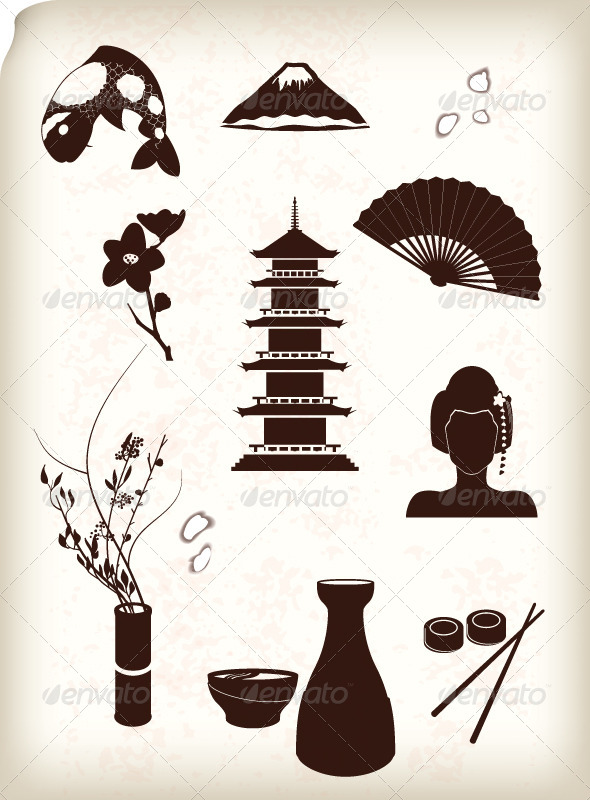 Japan Icons  - Travel Conceptual