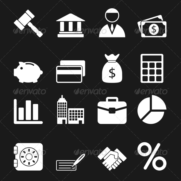 White Business Icons Set - Business Icons