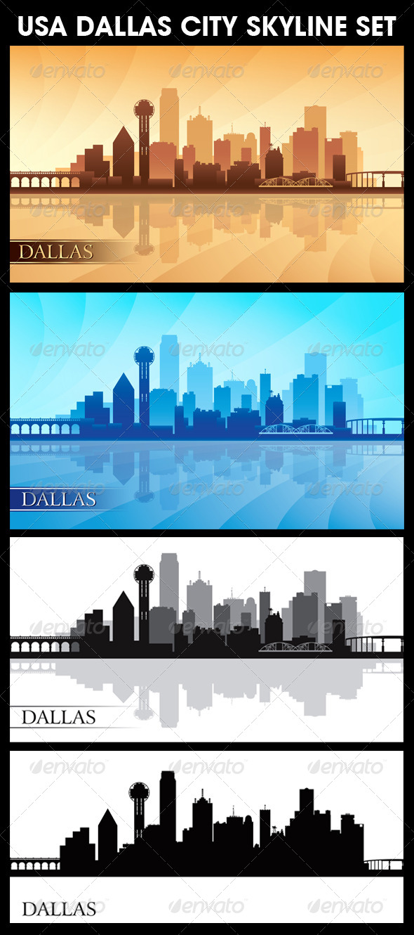 Dallas USA City Skyline Silhouettes Set - Backgrounds Decorative