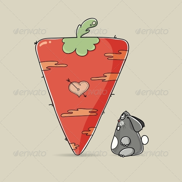 Valentine Rabbit Looking at Big Carrot - Valentines Seasons/Holidays