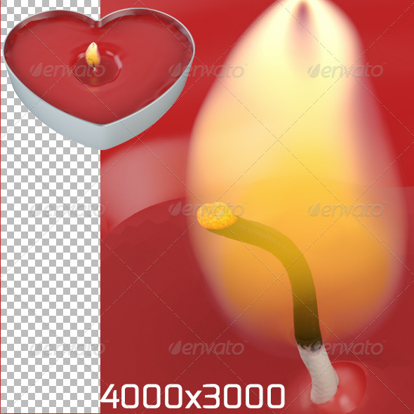 Heart Candle - Objects 3D Renders