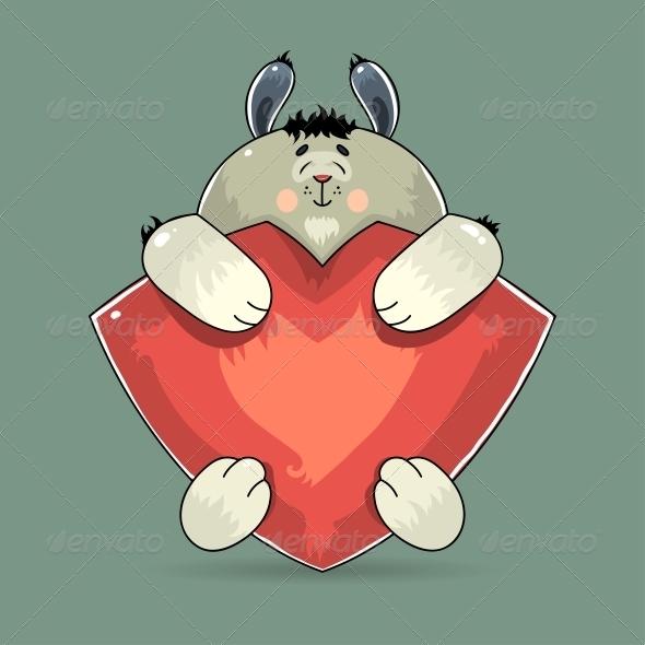 Valentine Rabbit Hugging a Red Heart - Valentines Seasons/Holidays