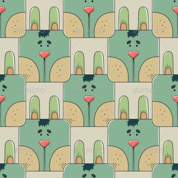 Seamless Pattern the Face of a Rabbit - Patterns Decorative