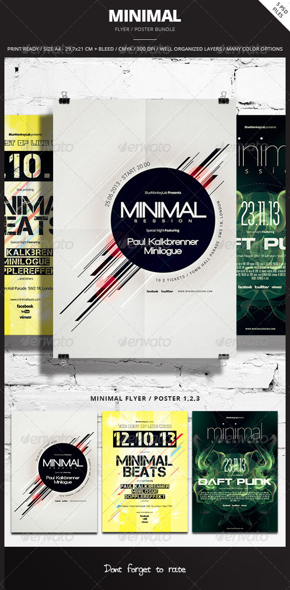 Minimal Flyer / Poster Bundle - Events Flyers