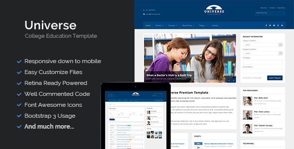 Universe – Education College Responsive Template