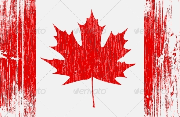 Canadian Flag on Wood - Travel Conceptual