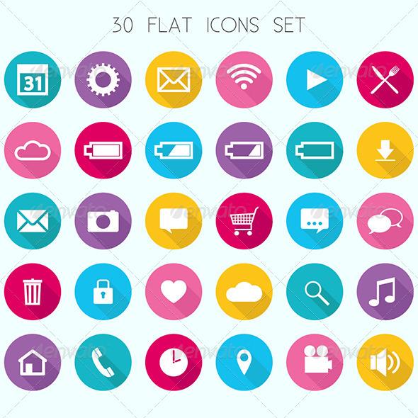 Flat Icons Set - Technology Conceptual