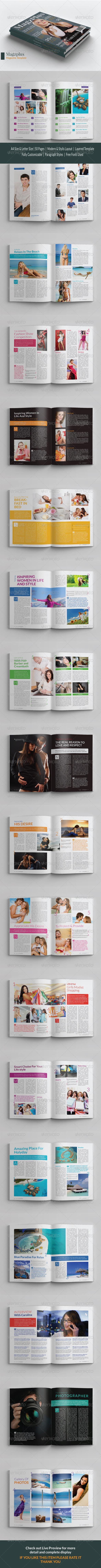 A4 / Letter Magzplus Magazine Template - Magazines Print Templates