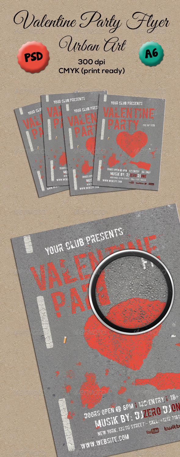 Valentine Party Flyer A6 - Clubs & Parties Events