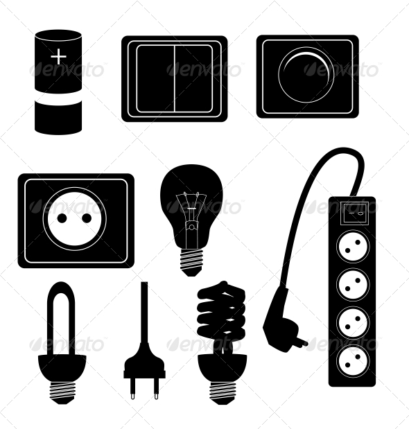 Electric Accessories Silhouette Icons - Web Technology