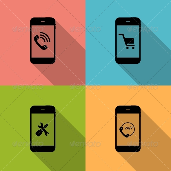 Concept on Different Mobile Phone Icons - Web Technology