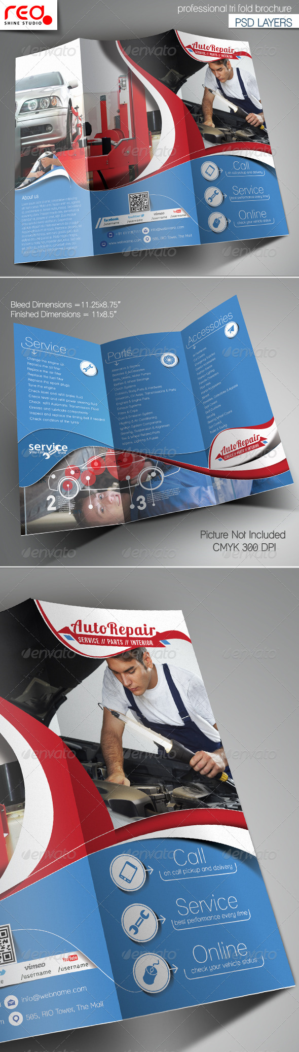 Auto Repair Trifold Brochure Template - Corporate Brochures