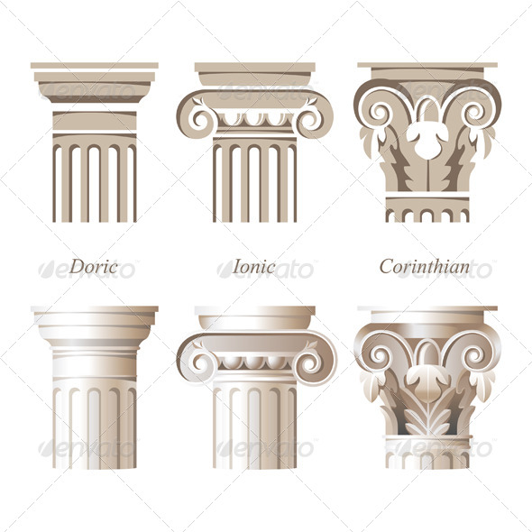 Columns in Different Styles - Objects Vectors