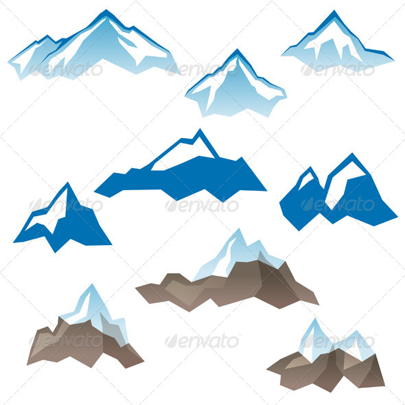 Stylized Mountains Icons - Landscapes Nature