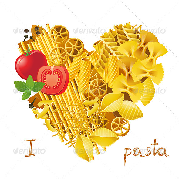 Heart Made from Pasta - Food Objects