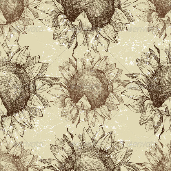Seamless Ornament with Sunflowers - Patterns Decorative