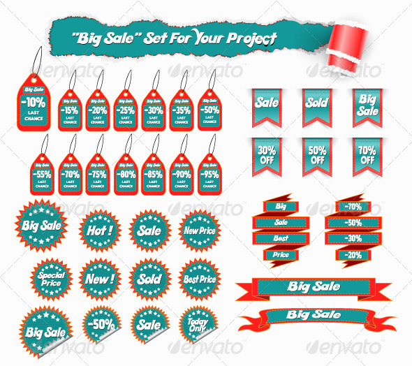 Big Sale Set of Stickers and Tags - Retail Commercial / Shopping