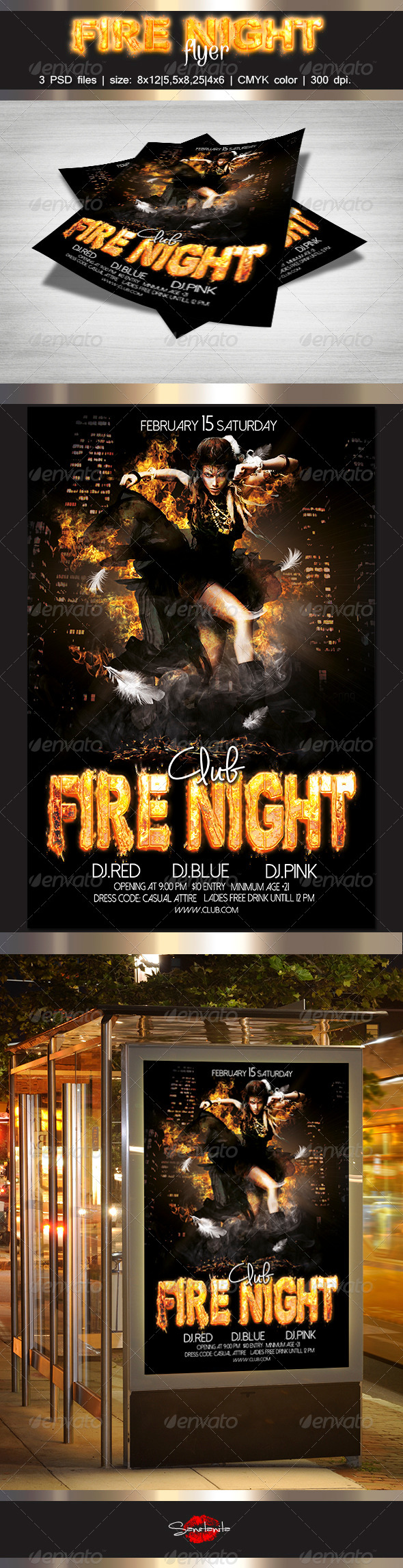 Fire Night Flyer Template - Clubs & Parties Events