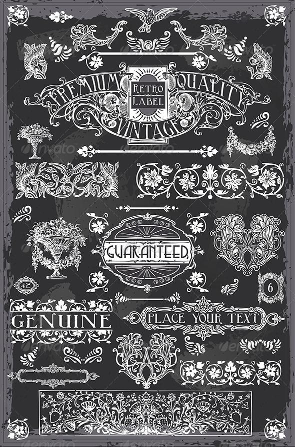 Vintage Hand Drawn Graphic Blackboard Banners - Decorative Vectors