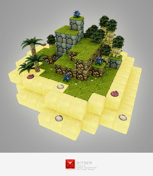 Low Poly Cube World Level Building Set - 3DOcean Item for Sale