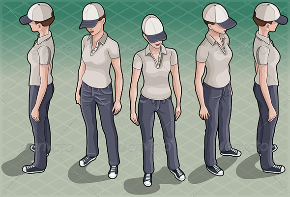 Isometric Service Woman in Five Positions - People Characters