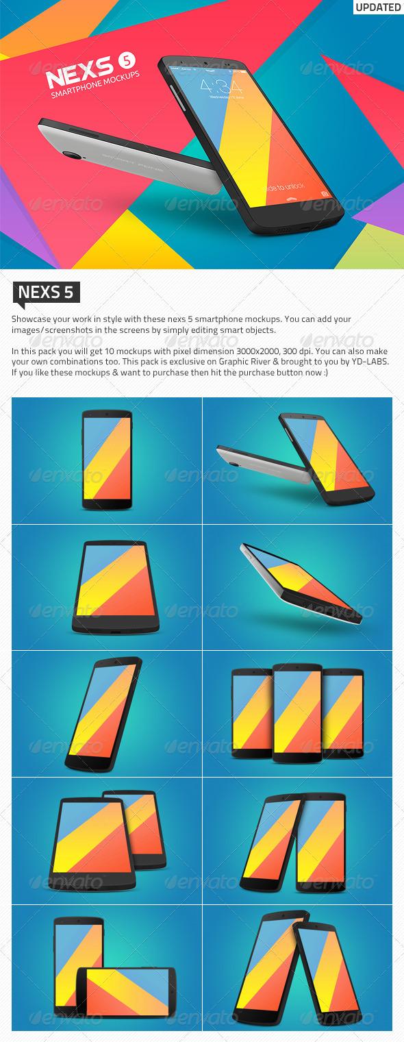 Nexs 5 Smartphone Mockups - Mobile Displays