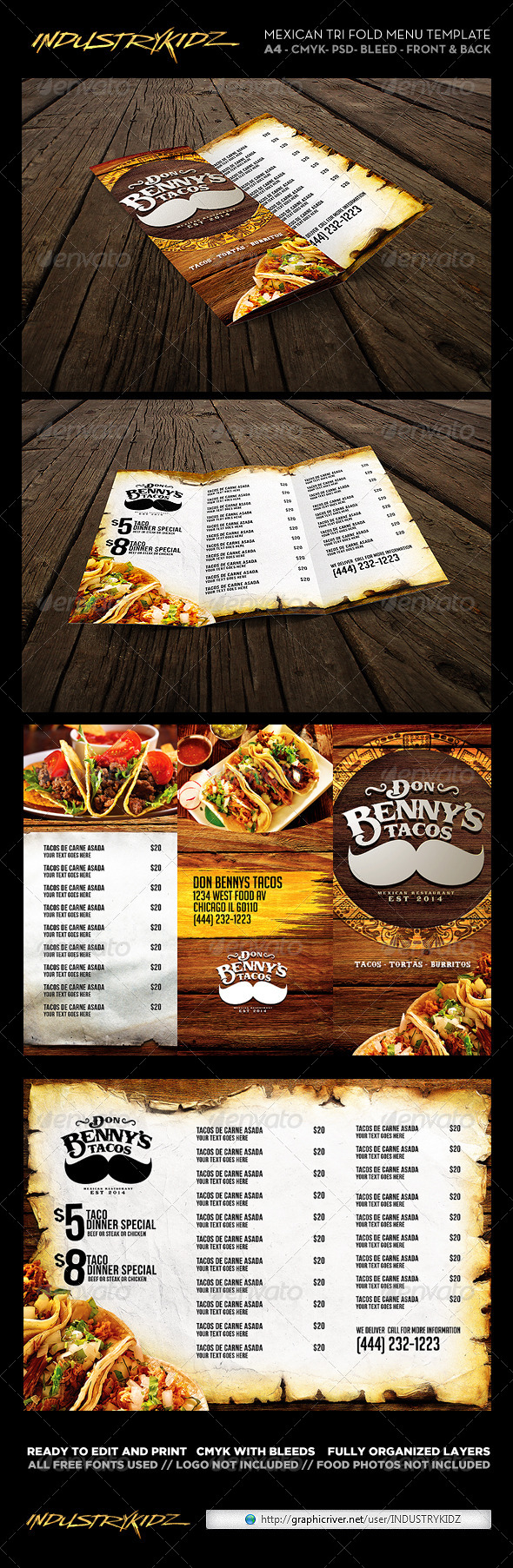 Trifold Mexican Menu Template - Food Menus Print Templates
