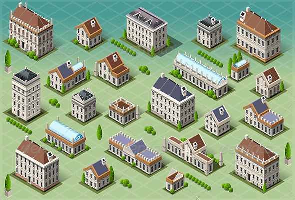 Set of Isometric European Buildings - Buildings Objects