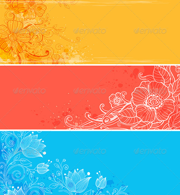 Horizontal Banners with Flowers - Backgrounds Decorative