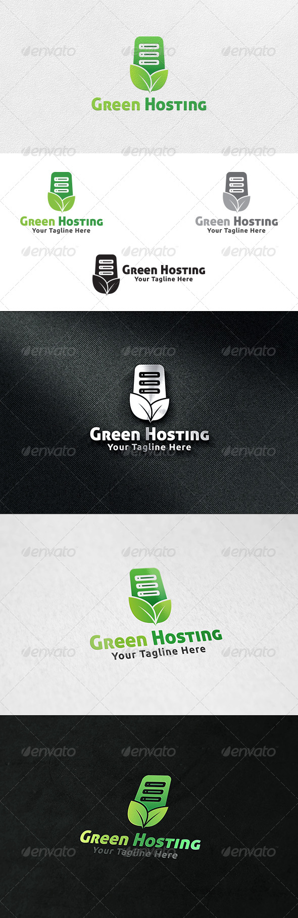 Green Hosting Server - Logo Template - Nature Logo Templates
