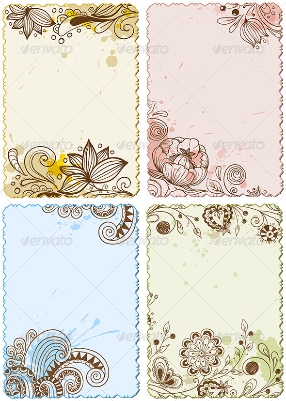 Hand Drawn Floral  Cards - Backgrounds Decorative