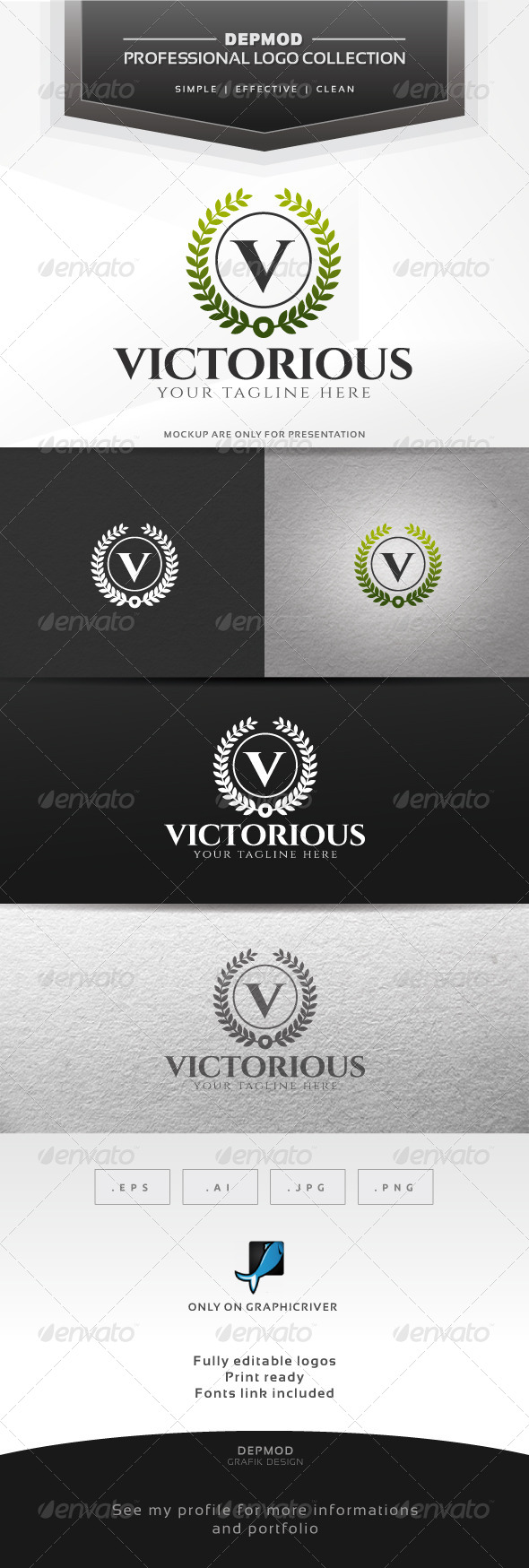 Victorious Logo - Letters Logo Templates