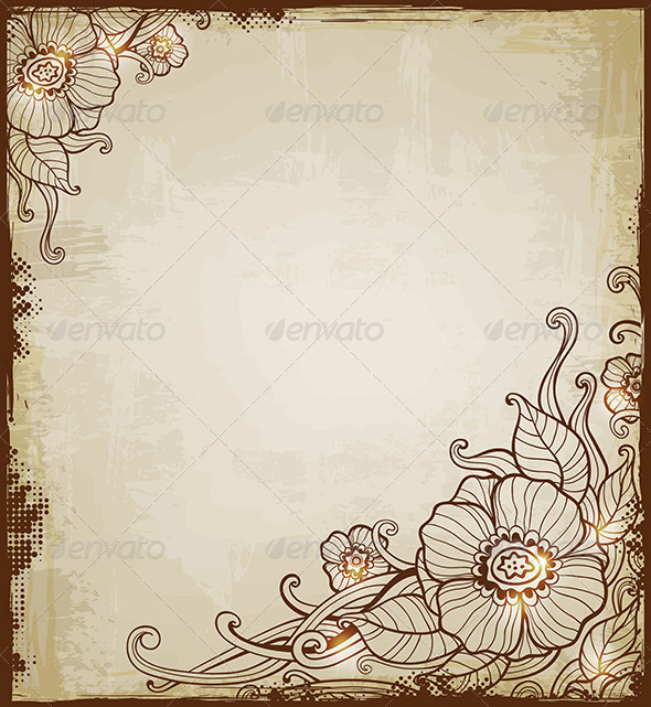 Vintage Background with Flowers - Backgrounds Decorative