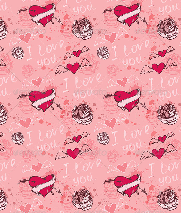 Seamless Pattern with Hearts - Patterns Decorative