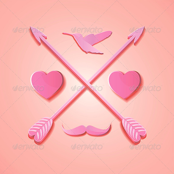 Hipster Card with Valentine Icons - Decorative Symbols Decorative