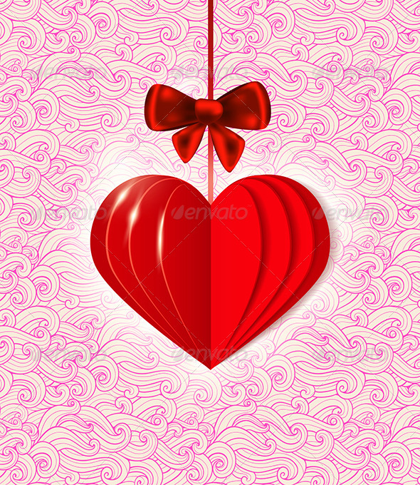 Background with Red  Paper Heart - Valentines Seasons/Holidays