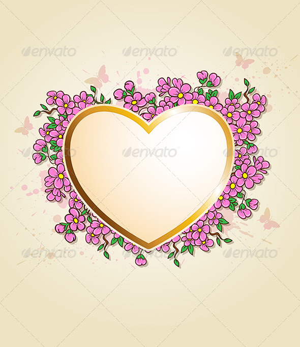 Card with Heart and Pink Flowers - Valentines Seasons/Holidays