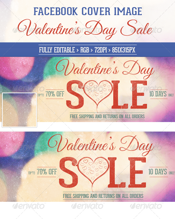 Valentine's Day Sale Facebook Cover Image - Facebook Timeline Covers Social Media