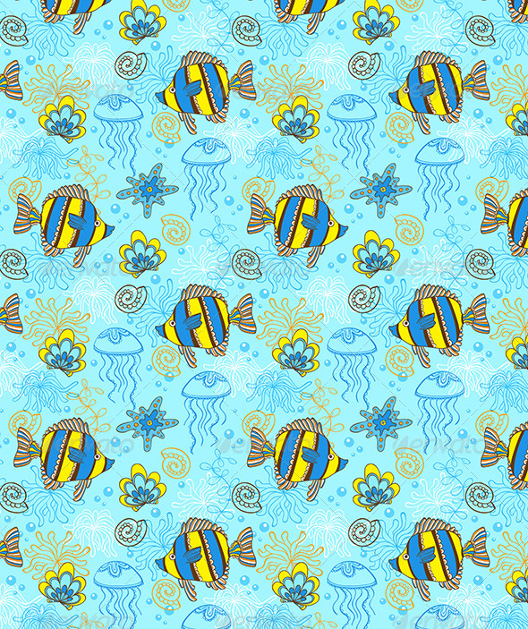 Pattern with Fishes and Shells - Patterns Decorative