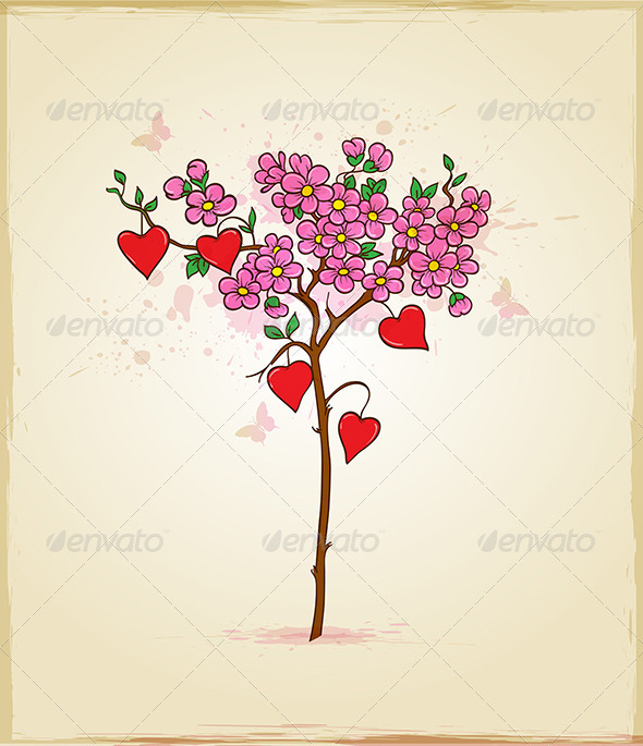 Tree with Flowers and Hearts - Valentines Seasons/Holidays