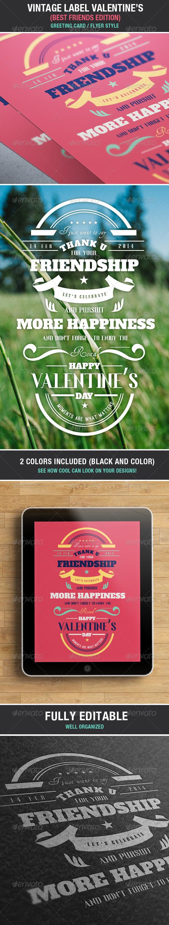 Vintage Label Friends & Love Valentine's Edition - Badges & Stickers Web Elements