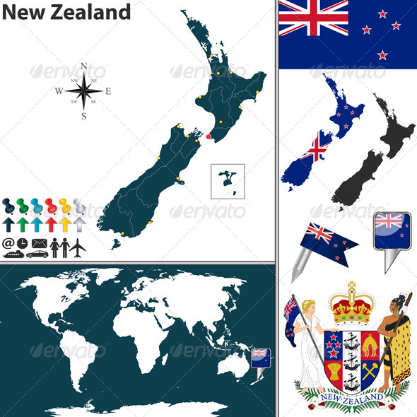 Map of New Zealand - Travel Conceptual