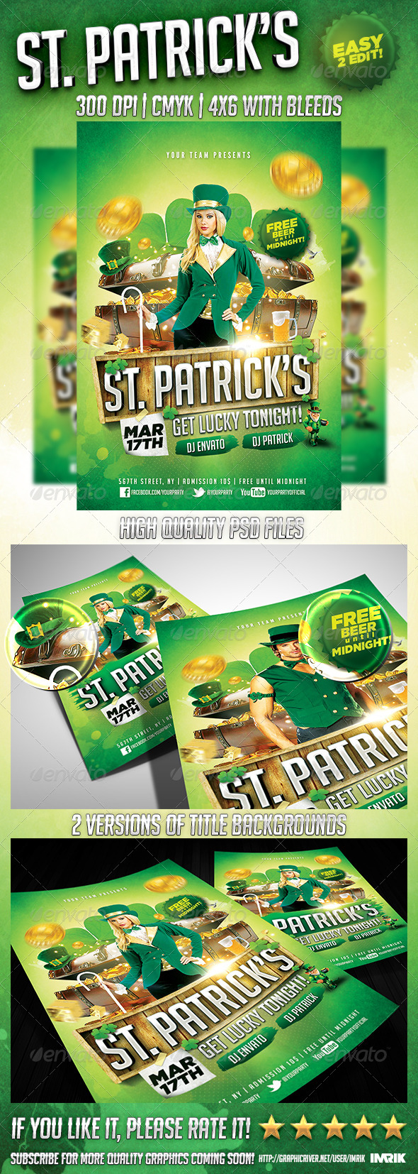 Saint Patrick's Night Flyer - Clubs & Parties Events
